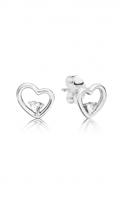 Pandora Asymmetric Hearts Of Love Earrings Clear CZ 297813CZ product image