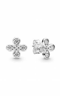 PANDORA Four-Petal Flower Stud Earrings Clear CZ 297968CZ product image