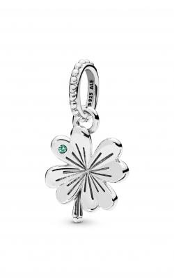 Pandora Lucky Four-Leaf Clover Pendant Aqua Green Crystal 397965NAG product image