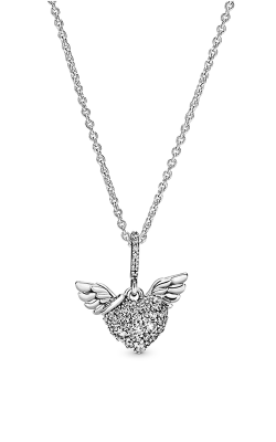 Pandora Pavé Heart & Angel Wings, Clear CZ Pendant 398505C01-45 product image