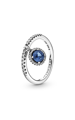 Pandora Dangling  Round Sparkle, Blue Crystal & Clear CZ Fashion Ring 198491C01-48 product image