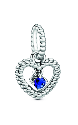 Pandora Sea Blue Beaded Heart Dangle Charm 798854C12 product image