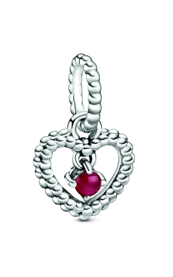 Pandora Dark Red Beaded Heart Dangle Charm 798854C08 product image