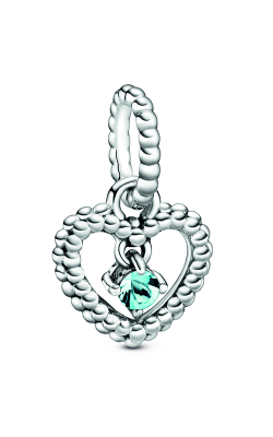 Pandora Aqua Blue Beaded Heart Dangle Charm 798854C01 product image