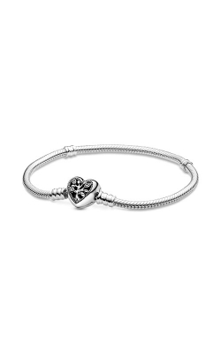 Pandora Moments Family Tree Heart Clasp Snake Chain Bracelet 598827C01-18 product image