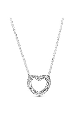 Pandora Pavé Snake Chain Pattern Open Heart Collier Necklace 399110C01-45 product image