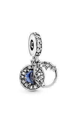Pandora Blue Night Sky Crescent Moon & Stars, Blue Crystal & Clear CZ Dangle Charm 799216C01 product image