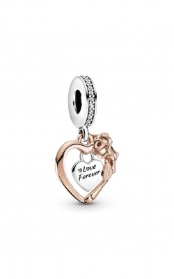 Pandora People Heart & Rose Flower Dangle Charm 789290C01 product image