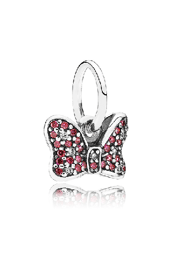 fed7d47bc PANDORA Disney Minnie's Sparkling Bow Dangle Charm Red & Clear CZ 791556CZR  product image