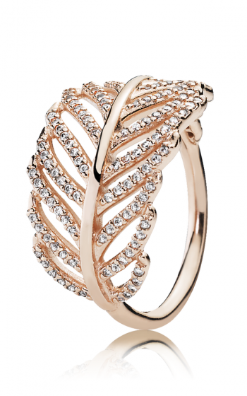 e34193190 PANDORA Rose™ & Clear CZ, Light As A Feather Ring 180886CZ-48