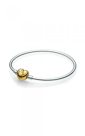 ab0294a57 PANDORA Shine™ Logo Heart Clasp Moments Silver Bangle Bracelet 567163-17  product image