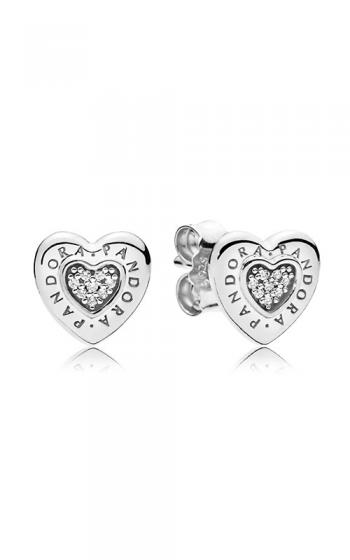 Pandora Signature Heart Earrings Clear Cz 297382cz