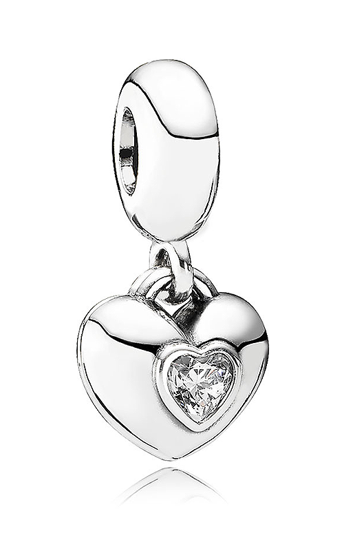 PANDORA You & Me, Two-Part, Clear CZ & Fuchsia Enamel Dangle Charm 791244CZ product image