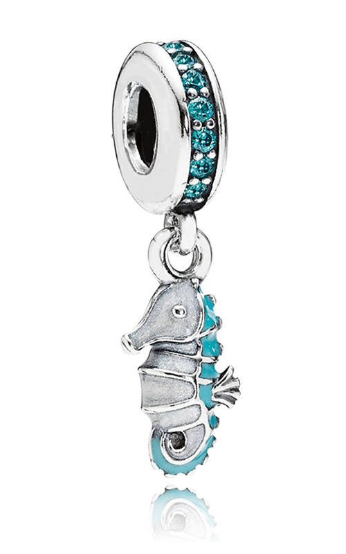 PANDORA Tropical Seahorse Teal CZ & Turquoise White Enamel Dangle Charm 791311MCZ product image