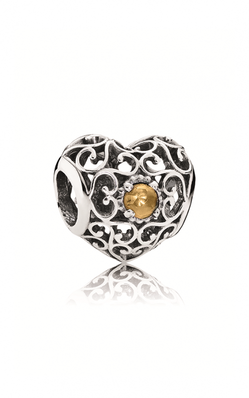 PANDORA November Signature Heart Charm Citrine 791784CI product image