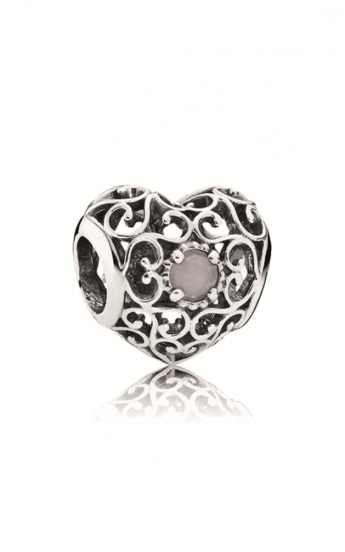Pandora June Signature Heart Charm Grey Moonstone 791784MSG product image