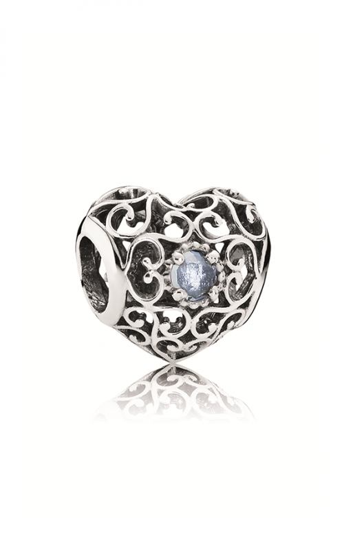 PANDORA March Signature Heart Charm Aqua Blue Crystal 791784NAB product image