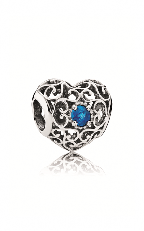PANDORA December Signature Heart Charm London Blue Crystal 791784NLB product image