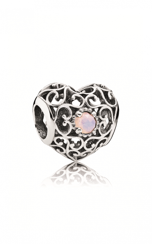 Pandora October Signature Heart Charm Opalescent Pink Crystal 791784NOP product image
