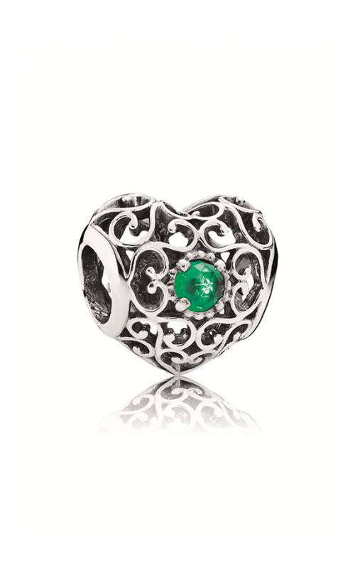 PANDORA May Signature Heart Charm Royal Green Crystal 791784NRG product image