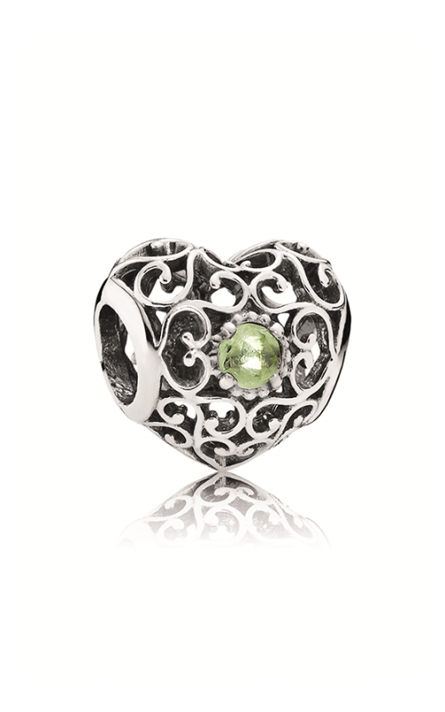 Pandora August Signature Heart Charm Peridot 791784PE product image