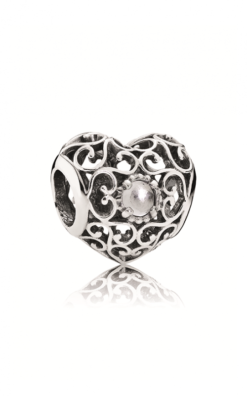 PANDORA April Signature Heart Charm Rock Crystal 791784RC product image