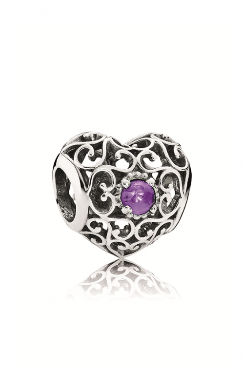 PANDORA February Signature Heart Charm Synthetic Amethyst 791784SAM product image