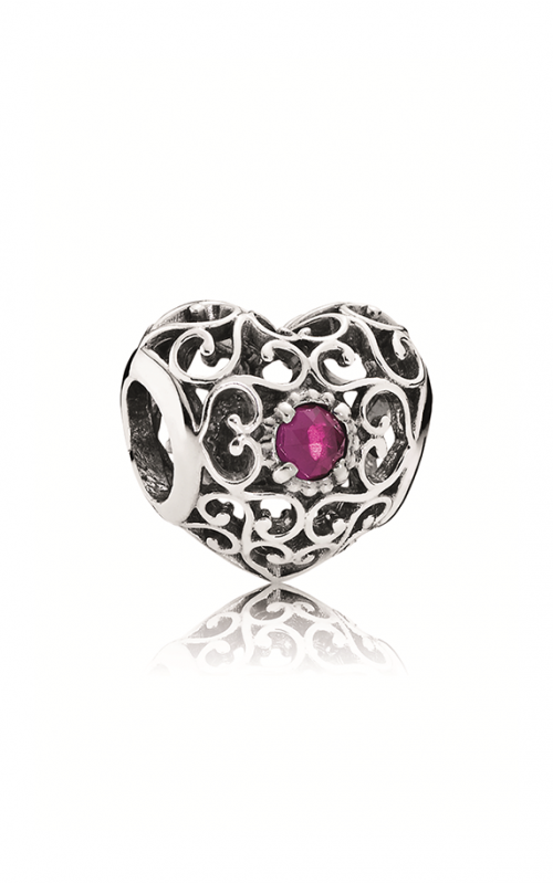 PANDORA July Signature Heart, Synthetic Ruby Charm 791784SRU product image