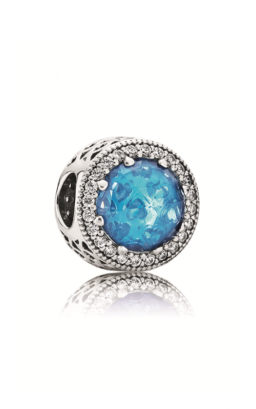 PANDORA Abstract Silver With Sky Blue Crystal & Clear CZ Charm 791725NBS product image