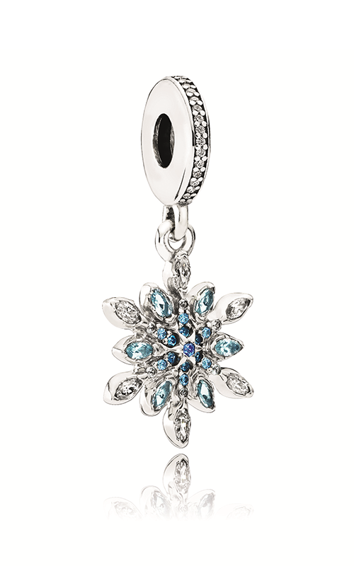 PANDORA Crystalized Snowflake Dangle Charm Blue Crystals & Clear CZ 791761NBLMX product image