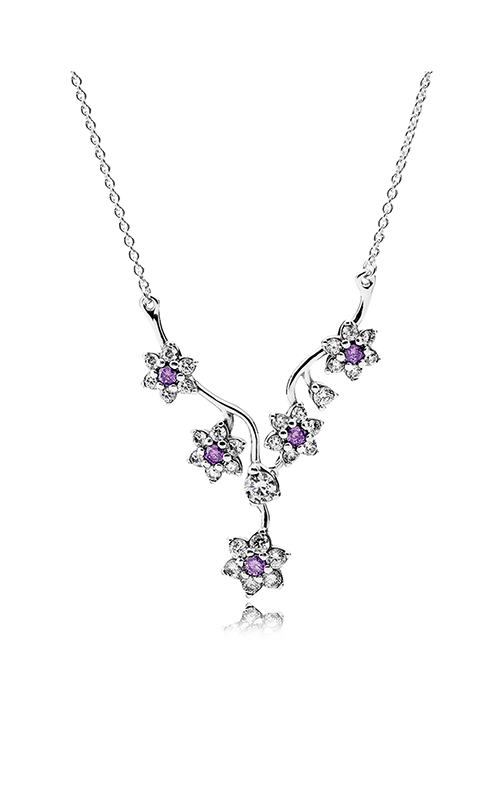 Pandora Forget Me Not, Purple & Clear CZ Necklace 590519ACZ-45 product image