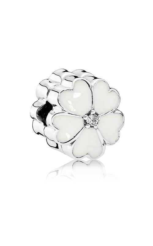 PANDORA White Primrose Clip White Enamel & Clear CZ 791822EN12 product image