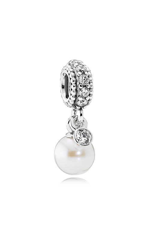 PANDORA Luminous Elegance Dangle Charm White Pearl & Clear CZ 791871P product image