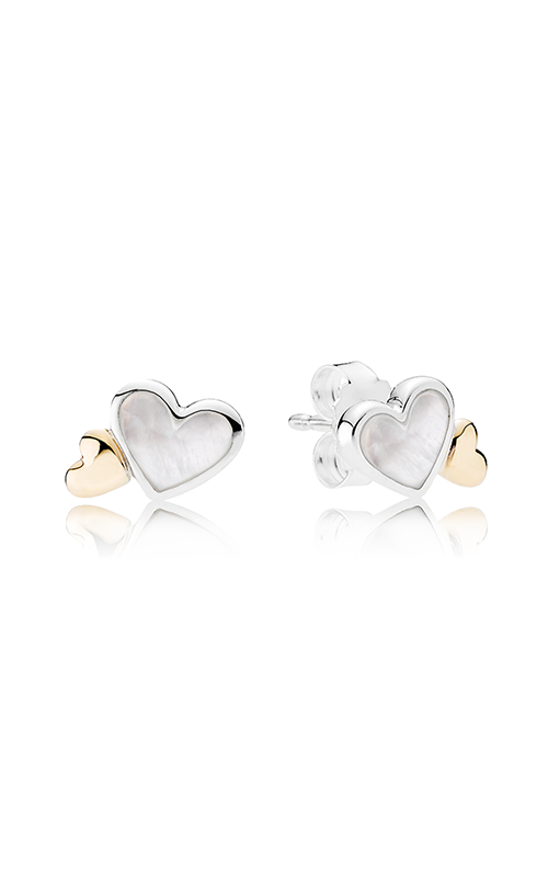 PANDORA Luminous Hearts Mother of  Pearl & 14k Gold Earrings 290697MOP product image