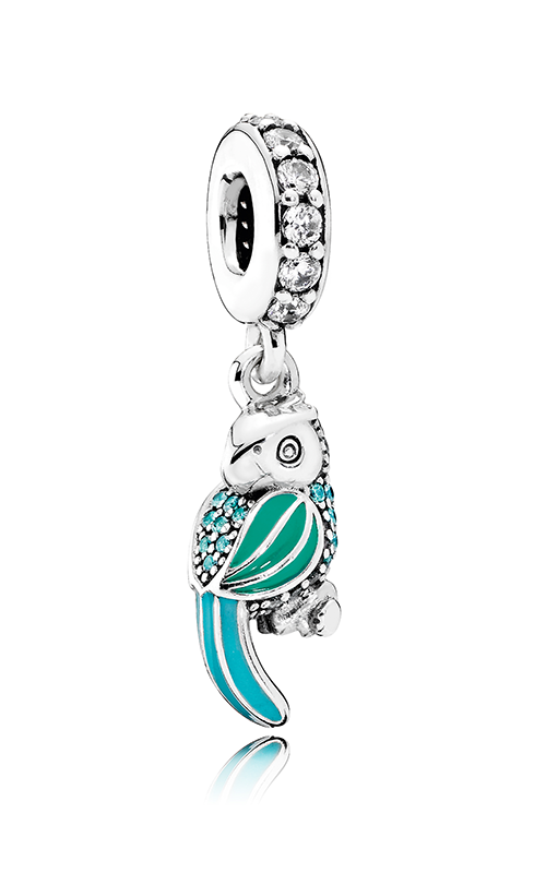 PANDORA Tropical Parrot Dangle Charm Mixed Enamels Teal & Clear CZ 791903ENMX product image