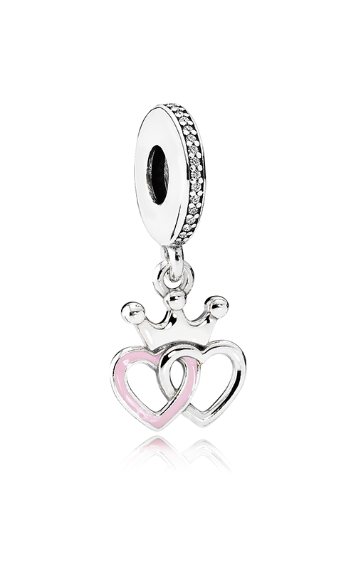 PANDORA Crowned Hearts Dangle Charm Orchid Pink Enamel & Clear CZ 791963CZ product image