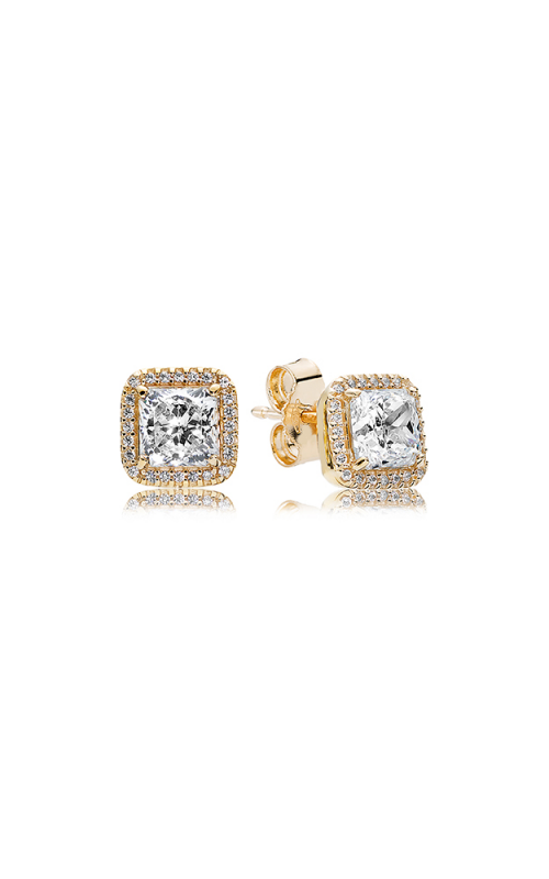 PANDORA Timeless Elegance 14K Gold & Clear CZ Earrings 250327CZ product image