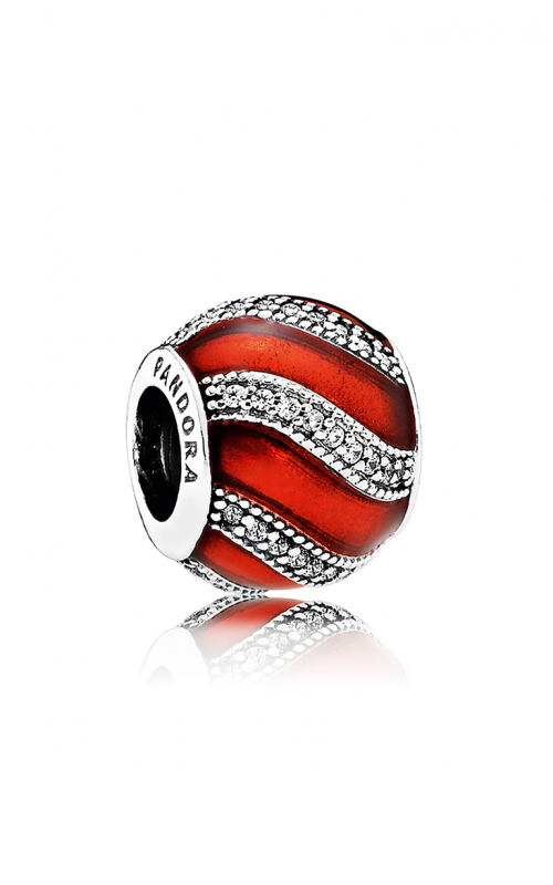PANDORA Adornment Charm Translucent Red Enamel & Clear CZ 791991EN07 product image