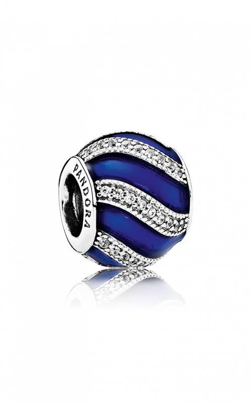 PANDORA Adornment Charm Transparent Royal-Blue Enamel & Clear CZ 791991EN118 product image