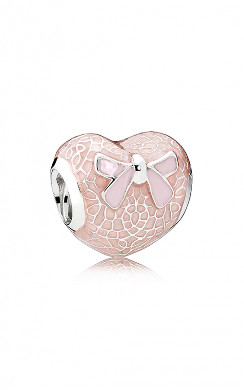 PANDORA Pink Bow & Lace Heart Charm Transparent Misty Rose & Soft Pink Enamel 792044ENMX product image