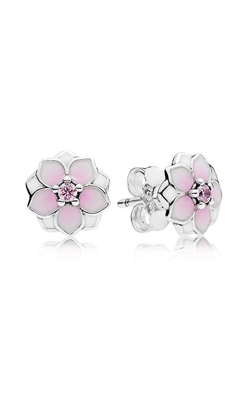 PANDORA Magnolia Bloom Pale Cerise Enamel & Pink CZ Earrings 290739PCZ product image