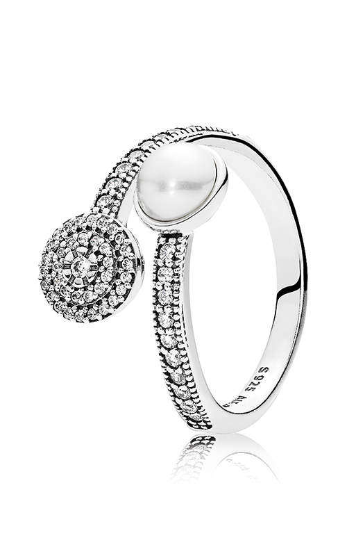 PANDORA Mother's Day Luminous Glow White Crystal Pearl and Clear CZ Fashion Ring 191044CZ-48 product image