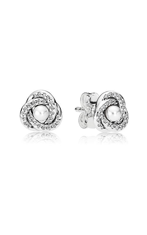 PANDORA Mother's Day Luminous Love Knots White Crystal Pearl & Clear CZ Earrings 290740WCP product image