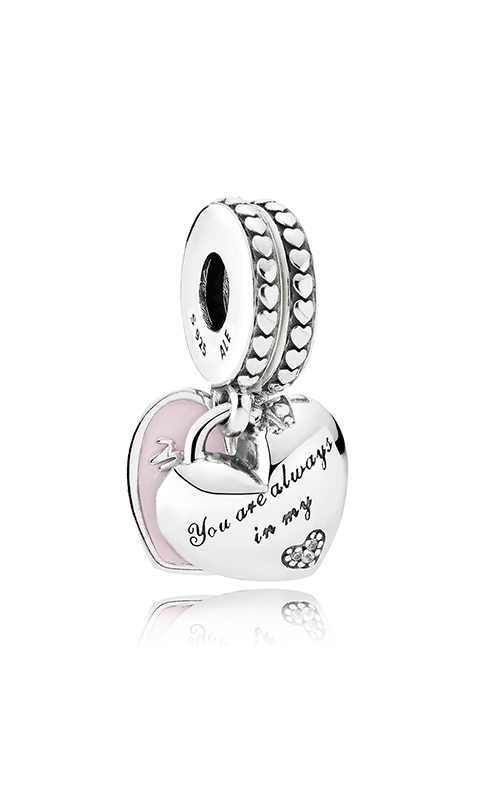 Pandora Mother & Daughter Hearts Dangle Charm Soft Pink Enamel & Clear CZ 792072EN40 product image