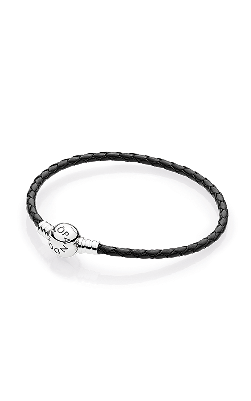 PANDORA Mother's Day Black Braided Leather Charm Bracelet 590745CBK-S2 product image