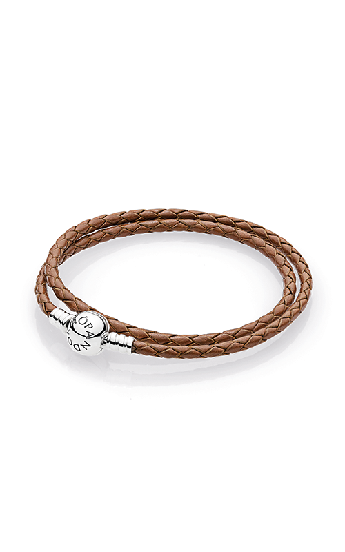 PANDORA Mother's Day Brown Braided Double-Leather Charm Bracelet 590745CBN-D3 product image