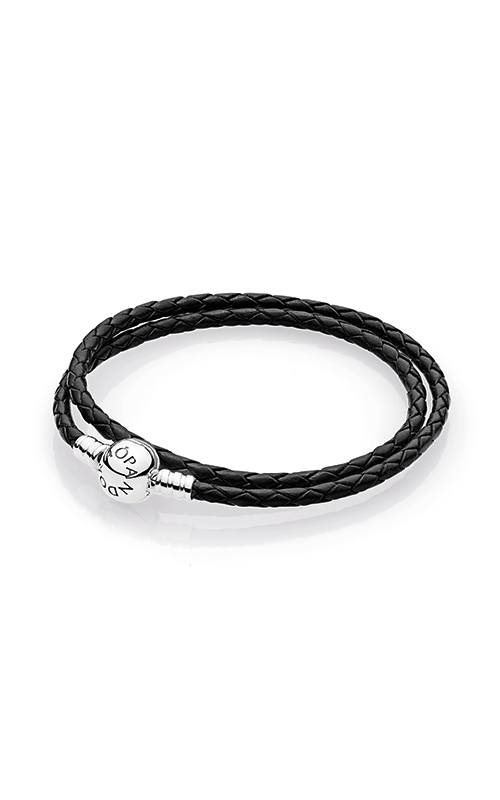 PANDORA Mother's Day Black Braided Leather Charm Bracelet 590745CBK-D2 product image