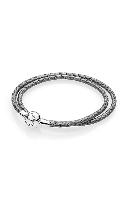 PANDORA Mother's Day Silver Grey Braided Double-Leather Charm Bracelet 590745CSG-D2 product image