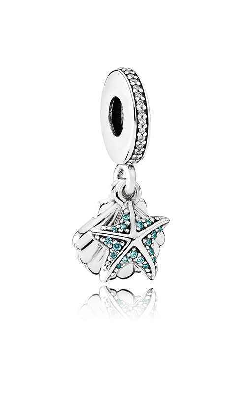 PANDORA Tropical Starfish & Sea Shell Dangle Charm Frosty Mint & Clear CZ 792076CZF product image