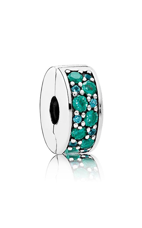 PANDORA Mosaic Shining Elegance Clip Multi-Colored Crystals & Teal CZ 791817MCZMX product image